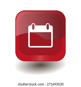 Red square button with white calendar sign, vector design for website