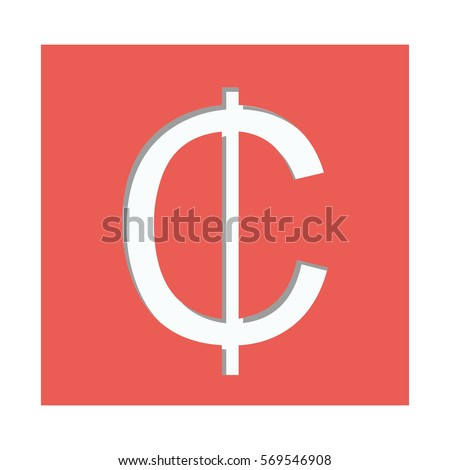 Red Square Currency Symbol Cent Stock Vector Royalty Free
