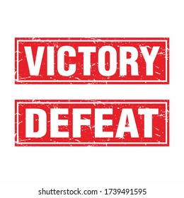 Red Square Grunge Rubber Stamp with Text Victory and Defeat Template Vector