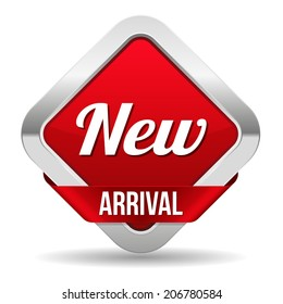 Red square new arrival button with ribbon on white background