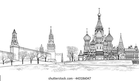 Red square view, Moscow, Russia.  Travel Russia vector illustration. Russian famous place. Kremlin city view from Moscow river. St Basil cathedral, towers and wall cityscape