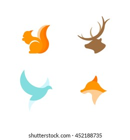 Red squirrel, dove, fox and deer silhouette logos. Carroty squirrel geometric logo. World peace. Flying dove geometric logo.