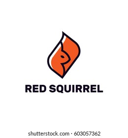 Red squirrel. Logo template.