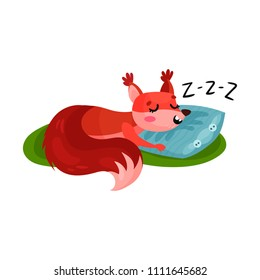 Red squirrel sleeping on soft pillow outdoor. Small forest rodent napping on green grass. Flat vector for sticker or children book