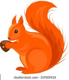 Red Squirrel Vector Illustration