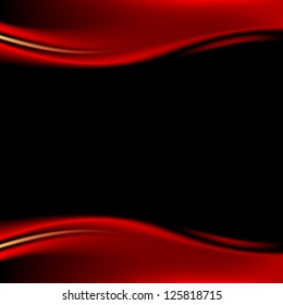Red stage curtain on black background in square format. Variant 01 - reflection. Luxury backdrop with wave strip in dark style. Empty space for text or sign. Vector illustration design element 8 eps