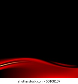 Red stage curtain on black background