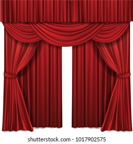 Red stage curtain realistic vector illustration for theater or opera scene backdrop, concert grand opening or cinema premiere. Red curtains or portiere drapes for ceremony performance design template