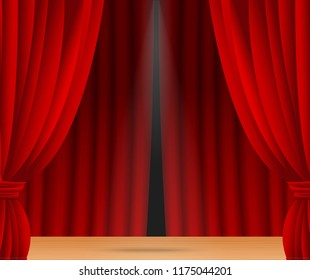 Red stage curtain realistic vector illustration for theater or opera scene backdrop, concert grand opening or cinema premiere. Red curtains or portiere drapes for ceremony performance design template.