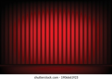 Red stage curtain with spotlight background.Vector illustration.Cinema or theater.
