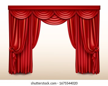 Red stage curtain for theater, realistic opera scene drape vector backdrop, concert grand opening or cinema premiere backstage, portiere for ceremony performance isolated template, 3d illustration
