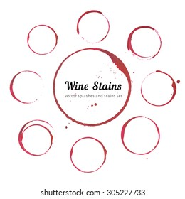 Red stains for wine card, stamp, logo, list, menu. Set of isolated wine stain circles. Wine stain logo design. Wine bottom glass ring stains for logo design. Watercolor glass circle marks.