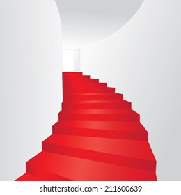 Red stair up to open the door