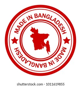 Red stamp made in with map of Bangladesh
