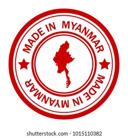 Red stamp made in with map of Myanmar