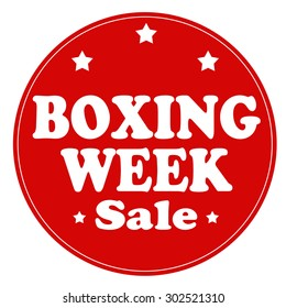 Red stamp with text Boxing Week,vector illustration