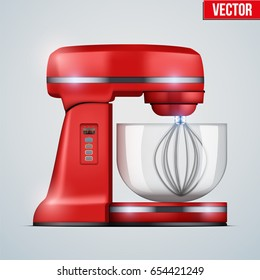 Red Stand Mixer. Food blender. Electronic Kitchen appliance. Realistic Original design. Concept of Health food and drink. Vector Illustration isolated on background.
