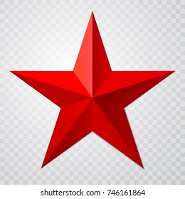 Red star 3d icon with shadow on transparent background. Vector illustration for USSR design.