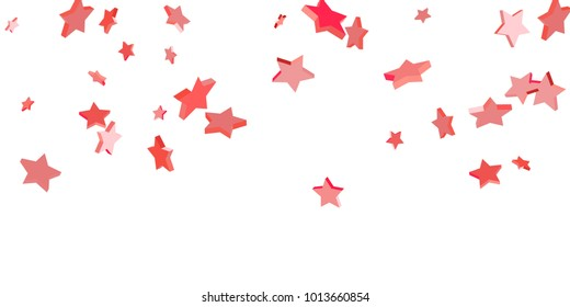 Red star confetti. Falling stars on a white background. Illustration of flying shiny stars. Decorative element. Suitable for your design, cards, invitations, gift, vip.