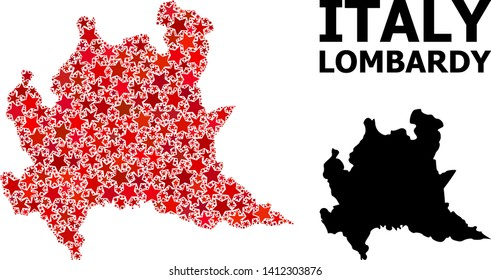 Red star mosaic and solid map of Lombardy region. Vector geographic map of Lombardy region in red color tinges. Abstract mosaic is designed with random flat star elements.