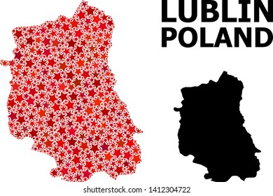 Red star mosaic and solid map of Lublin Province. Vector geographic map of Lublin Province in red color shades. Abstract mosaic is created from randomized flat star parts.