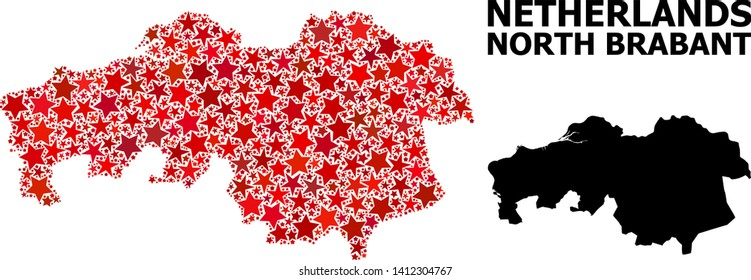 Red star mosaic and solid map of North Brabant Province. Vector geographic map of North Brabant Province in red color hues. Abstract mosaic is designed with scattered flat star parts.