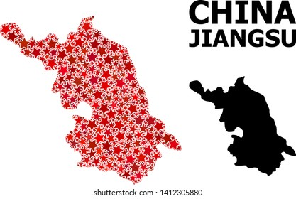 Red star mosaic and solid Map of Jiangsu Province. Vector geographic Map of Jiangsu Province in red color variations. Abstract mosaic is created with scattered flat star parts.
