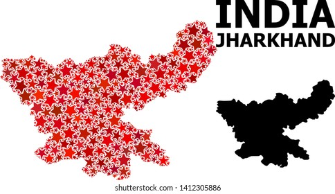 Red star mosaic and solid map of Jharkhand State. Vector geographic map of Jharkhand State in red color hues. Abstract collage is constructed from random flat star items.