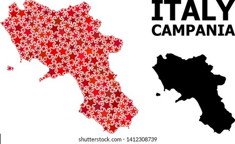 Red star mosaic and solid map of Campania region. Vector geographic map of Campania region in red color tones. Abstract composition is composed with randomized flat star items.