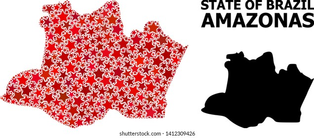 Red star mosaic and solid map of Amazonas State. Vector geographic map of Amazonas State in red color variations. Abstract mosaic is designed with scattered flat star elements.