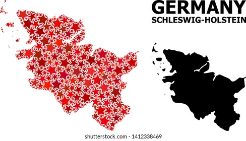 Red star mosaic and solid map of Schleswig-Holstein State. Vector geographic map of Schleswig-Holstein State in red color variations. Abstract collage is constructed with random flat star parts.