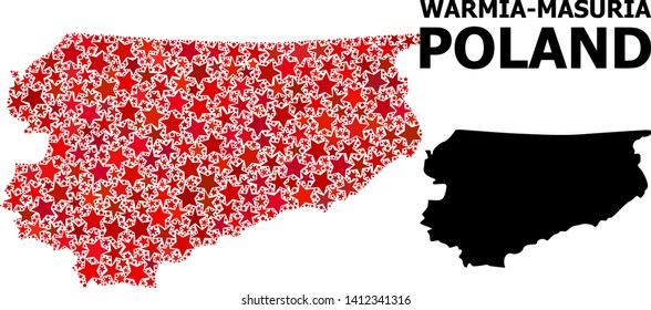 Red star mosaic and solid map of Warmia-Masuria Province. Vector geographic map of Warmia-Masuria Province in red color tones. Abstract mosaic is composed with randomized flat star elements.