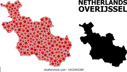 Red star mosaic and solid map of Overijssel Province. Vector geographic map of Overijssel Province in red color tints. Abstract mosaic is organized with randomized flat star items.