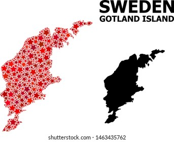 Red star mosaic and solid map of Gotland Island. Vector geographic map of Gotland Island in red color hues. Abstract composition is combined with randomized flat star items.