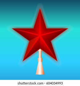 Red Star on the holder on a blue background. Vector illustration