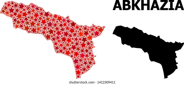 Red star pattern and solid map of Abkhazia. Vector geographic map of Abkhazia in red color tinges. Abstract concept is created from random flat star elements.