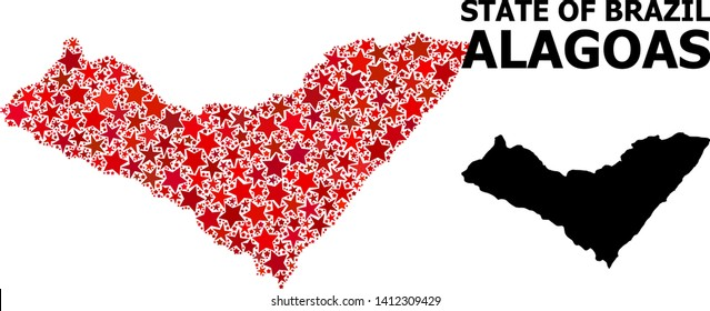 Red star pattern and solid map of Alagoas State. Vector geographic map of Alagoas State in red color variations. Abstract composition is created with scattered flat star elements.