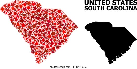 Red star pattern and solid map of South Carolina State. Vector geographic map of South Carolina State in red color tinges. Abstract composition is created from scattered flat star items.