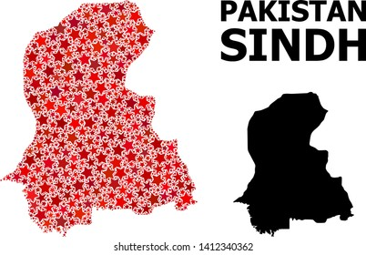 Red star pattern and solid map of Sindh Province. Vector geographic map of Sindh Province in red color variations. Abstract collage is designed with random flat star parts.