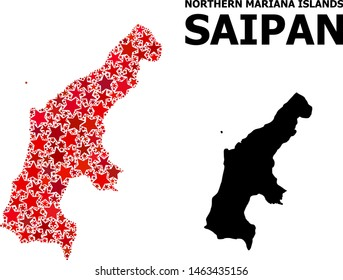 Red star pattern and solid map of Saipan Island. Vector geographic map of Saipan Island in red color hues. Abstract mosaic is done with randomized flat star items.