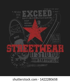 Red star with streetwear elements and text on black background. Urban style illustration for t-shirt