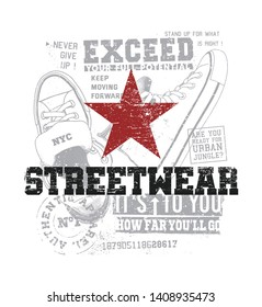 Red star with streetwear text. Urban style illustration for t-shirt.