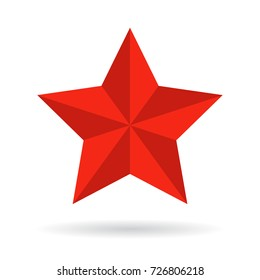 Red star vector icon isolated on white background