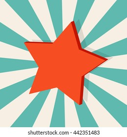 red star vector illustration. star in background explosion rays