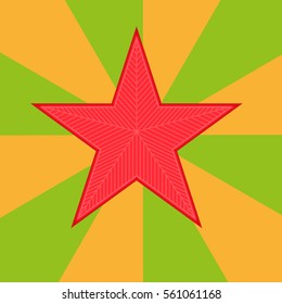 Red star vector illustration. Icon on orange and green background