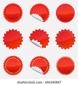 Red Starbursts Set,  Illustration Vector 10