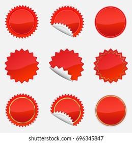 Red Starbursts Set,  Illustration Vector 10