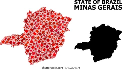 Red starred mosaic and solid map of Minas Gerais State. Vector geographic map of Minas Gerais State in red color hues. Abstract mosaic is created with randomized flat star elements.