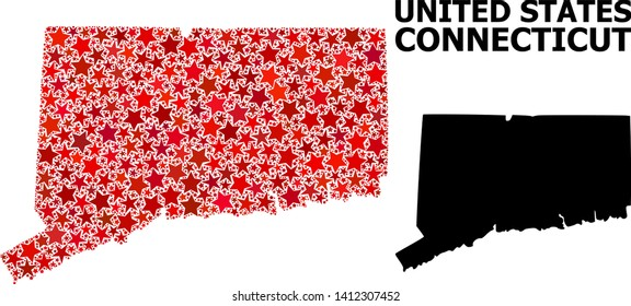 Red starred mosaic and solid map of Connecticut State. Vector geographic map of Connecticut State in red color hues. Abstract mosaic is done from scattered flat star parts.