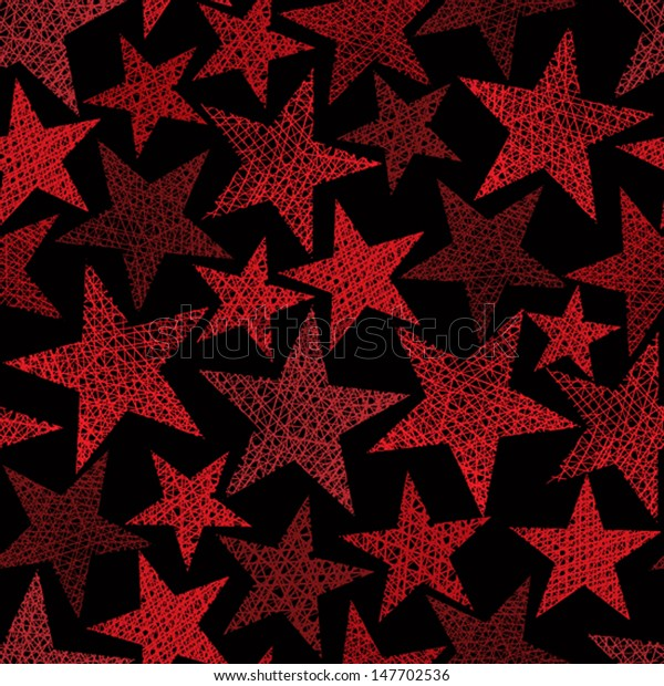 Red stars seamless pattern, vector repeating background with hand drawn lines textures.